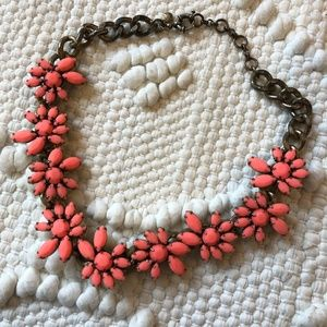 J. Crew Coral colored flower statement necklace